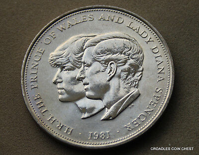 English 1981 Circulated Royal Wedding Crown Coin Charles And Diana #af6