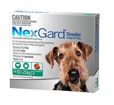 Nexgard Chewables for Dogs 10.1 - 25kgs GREEN Flea & Tick ALL SIZES