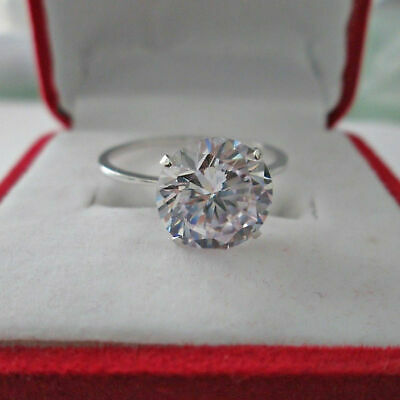 14k White Gold Finish 8 Ct Round Cut Diamond Solitaire Engagement Ring