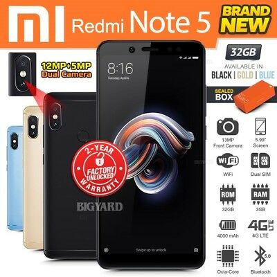 a5234e58d New Factory Unlocked XIAOMI REDMI Note 5 Black Blue Gold 32GB Android  Smartphone