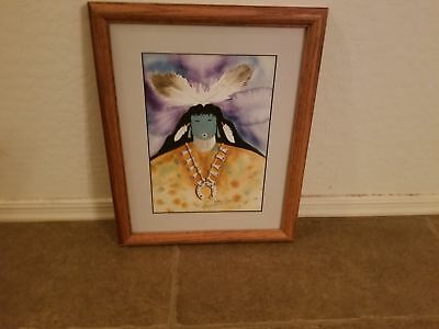 Signed & Framed Terry Yazzie 2008 15X13 Kachina Watercolor Native American