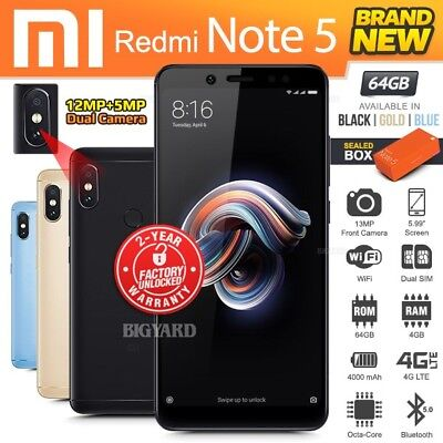 New Factory Unlocked XIAOMI REDMI Note 5 Black Blue Gold 64GB Android Smartphone