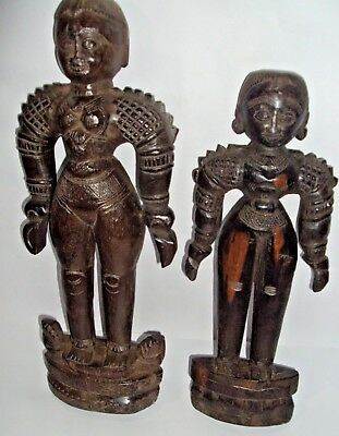 2 Pc Rare Vintage Indian Hand Carved Unique Wooden Tribal Lady Statue & Figures