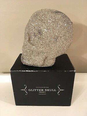 Pottery Barn Halloween SILVER GERMAN GLITTER SKULL OBJECT