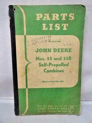 Vintage JOHN DEERE Parts List Manual Self-Propelled Combines  Nos 55 and 55R