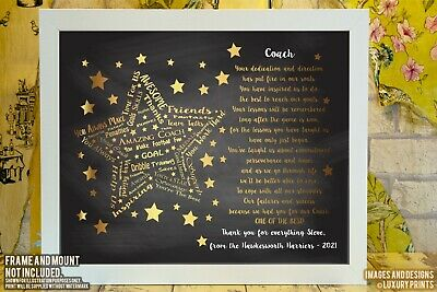 Personalised Football Coach Manager THANK YOU Picture Print Gift Present Canvas