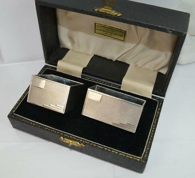 Impressive Heavy Solid Silver Pair of Art Deco Design Napkin Rings in Box