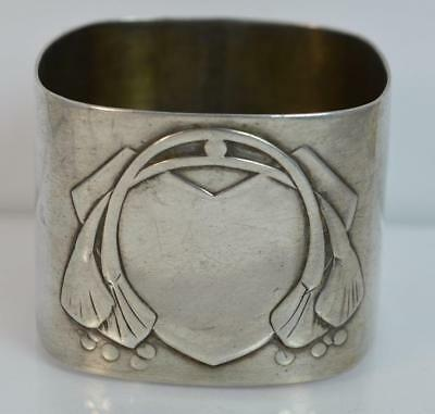 Art Nouveau German Solid Silver Four Sided Napkin Ring