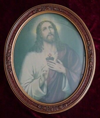 Antique Art Deco Vintage Convex Domed Glass Picture of Jesus Timber Gilt Frame