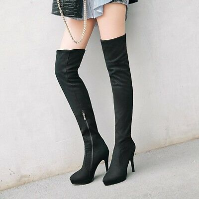 Lady Winter Chic Over The Knee Boots Girls Pull On High Stiletto Heel Shoes New