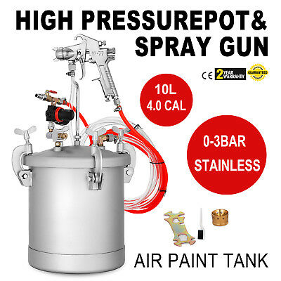 2 1/4 Gallon High Pressure Pot Tank Air Paint Spray Gun Painting Painter 2 Hose