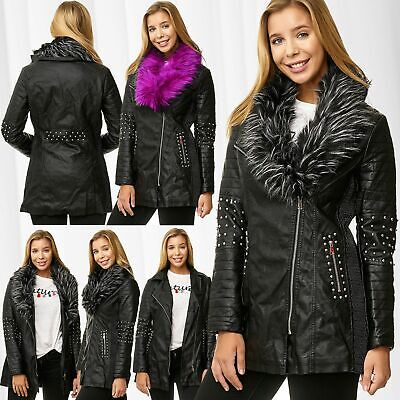 Damen Mantel Leder Optik Parka Jacke Kurzmantel Fellkragen Ledermantel Nieten