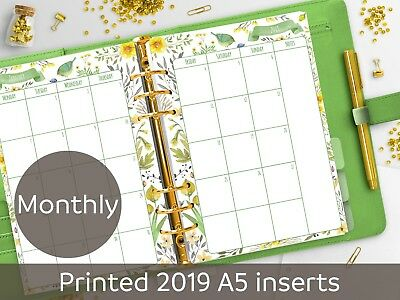 2019 dated A5 Monthly planner inserts - Month on 2 pages - Filofax A5