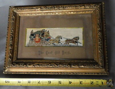 Antique Textile Embroidery Stevengraph silk Picture good old days 1887 Mail