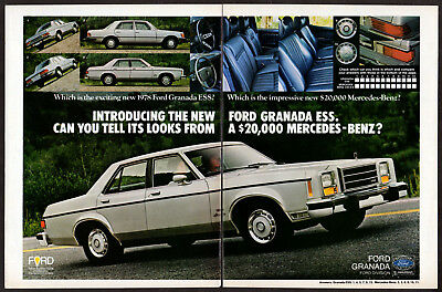 1978 FORD Granada ESS Vintage Original 2 page Print AD White sedan car photo USA