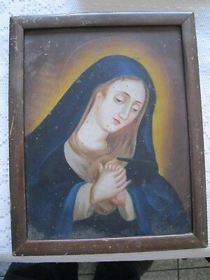Original Antique Retablo On Tin With Image Of Our Lady Of Sorrow With Wood Frame