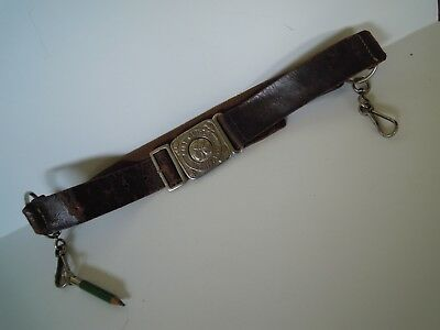 Vintage Brown Leckie Walsall Leather Girl Guides Belt with Pencil & Clips