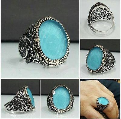 Handcraft Turkish 925 Sterling Silver Jewelry Aquamarine Men's  Ring
