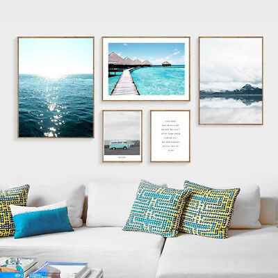 Am_ Nordic Wall Decor Poster Unframed Bus Ocean Printed Home Canvas Painting Str