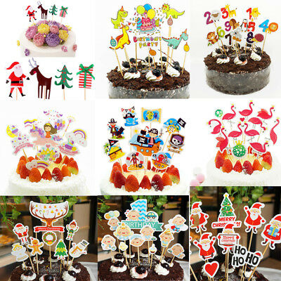 24pcs Christmas Cake Picks Cupcake Toppers Flags Birthday Kids Party Decoration