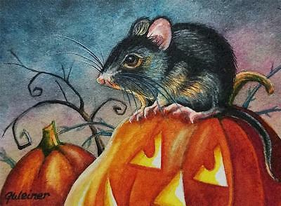 ACEO Limited Edition Art Print Halloween Black Mouse Pumpkin Jackolantern Weiner