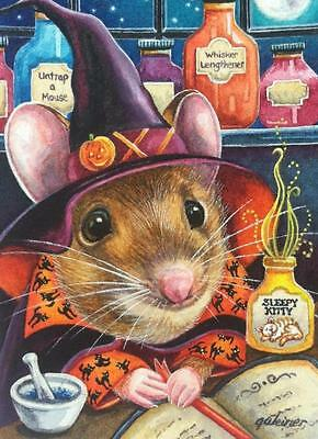 ACEO Limited Edition Print Halloween Witch Mouse Potion Kitty Moon by J. Weiner