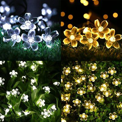 50 LED Solar Power Fairy String Lights Blossom Flower Outdoor Garden Party Decor