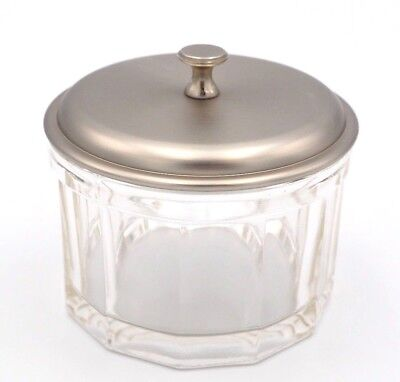 Old Vintage Doctor Office Style Heavy Glass Cotton Ball Bowl Heavy Pewter Lid