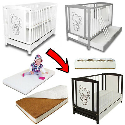 Baby Cot Bed Teddy Bears White with Drawer & Toddler Barrier + Optional Mattress