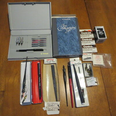 Rotring and Parker Calligraphy Pen Lot Ink Brause Other Nibs