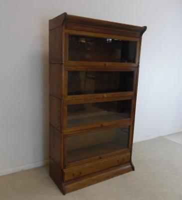 Antique Four Stack Oak Barrister Bookcase With Drawer Base