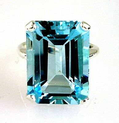 Beautiful Natural Large Emerald Cut Blue Topaz Ring 925 Sterling Silver 18X13MM