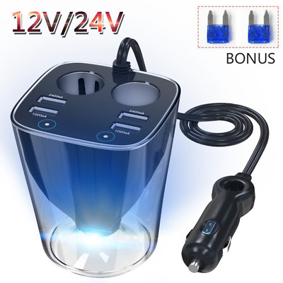120W Cigarette Lighter Power Adapter DC Outlet Splitter 6.2A 4 USB Car Charger