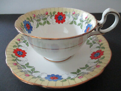 Vintage Aynsley Tea Cup & Saucer--Art Deco Hand Painted Floral Desgn-Scalloped