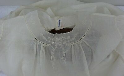 White Cotton Embroidered Dress Child's Baby Dolls Early 1900's Antique Vintage
