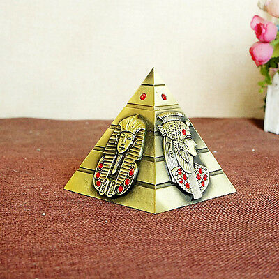 Red Stone Egyptian Pyramid Decorative Metal Statue Decoration Desk Car Ornament