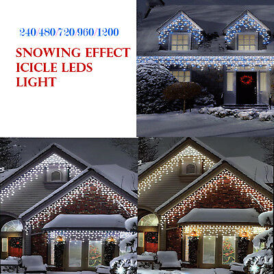 240/480/720/960/1200 Christmas Icicle Snowing Effect Lights Indoor Outdoor Decor