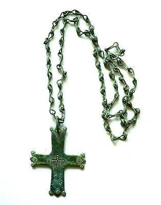 Byzantine Bronze Cross With Chain