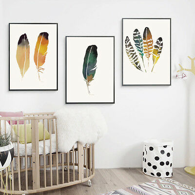 AM_ Nordic Watercolor Feather Poster Canvas Print Wall Art Painting Decor Clever