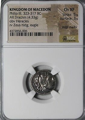 Kings Of Macedon Philip III 323-317 BC AR Silver Drachm NGC CH XF Ancient Coin