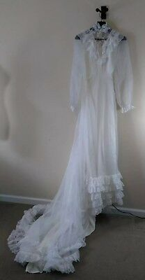 Vintage Lace High Collar Victorian Style Wedding Dress With Train c 1970s Boho