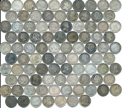93 Old Silver Five 5 Cent Coins Canada 1870-1920