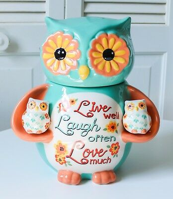 NEW! Cookie Jar Owl with Salt and Pepper Set Shakers Ceramic Canister Stoneware