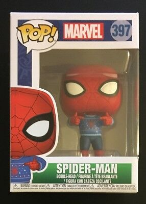 Funko Pop! Marvel Spider-Man with Ugly Sweater Holiday #397 W/ .45 MM Protector!