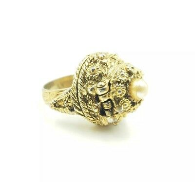 Vintage Poison Assassin's Ring - Gold Tone (Spring Assisted) Stash Ring