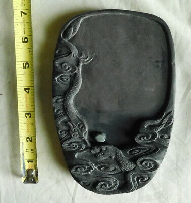 Chinese Duan Ink Stone Dragon motif single post volcanic tuff hand carved
