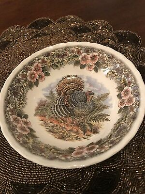 "Vintage Queens Myott Thanksgiving Turkey 6 1/2"" Round Serving Bowl. Excellent"