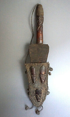 Ritual knife with leather sheath · Ritual Messer · Couteau· BEMBE · R.D.DU CONGO