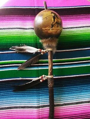 Hand Painted Dance Gourd Rattle , Ceremonial , Santa Fe Style , Natural, Horse 2