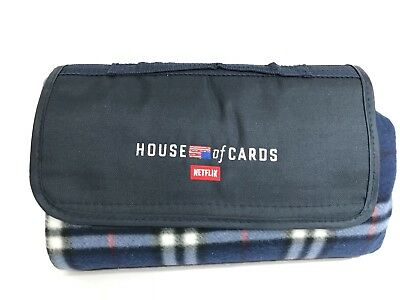 NETFLIX House of Cards TV Show Rare Promotional Blue Plaid Picnic Blanket GIFT